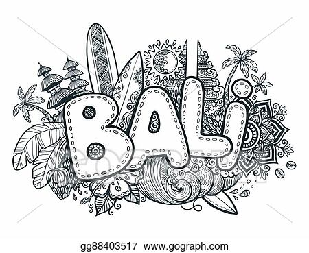 Vector Art Black Vector Bali Sign On Hand Drawn Doodle Style
