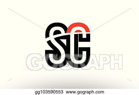 Vector Illustration Black White Alphabet Letter Sc S C