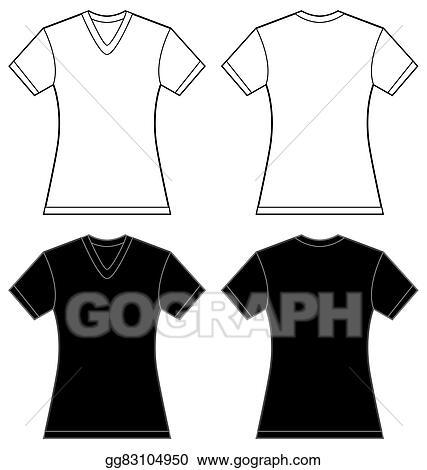 Vector Clipart - Black white women\'s v-neck shirt design template ...