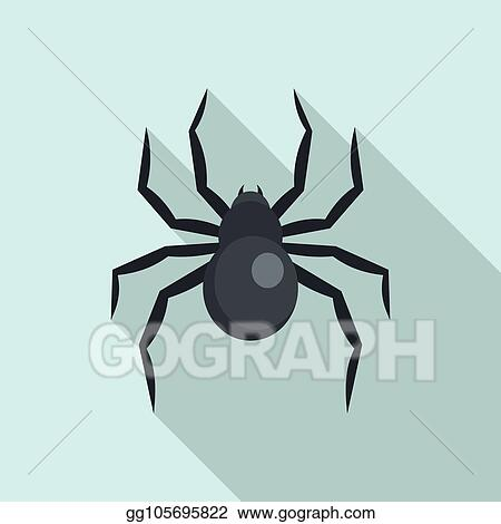 Clip Art Vector Black Widow Spider Icon Flat Style Stock