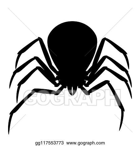 Vector Art Black Widow Spider Silhouette Clipart Drawing
