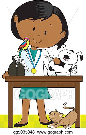 stock illustration black woman vet and pets clipart drawing rh gograph com veterinarian clip art free veterinarian clipart free