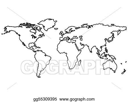 Black World Map Outlines Isolated On White