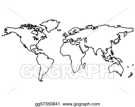 World Map Clip Art Black And White.Vector Illustration Black World Map Outlines Isolated On White