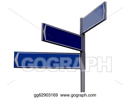 clipart blank blue direction sign signpost stock illustration