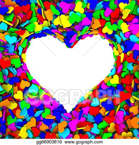 Stock Illustration - Blank frame of heart shape composed of many ...