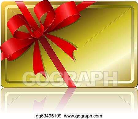 Clip Art Vector Blank Golden Gift Card With Ribbon Isolated On