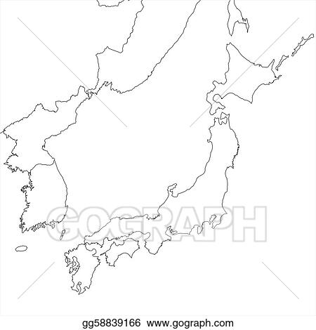 Clipart Blank Japan Map Stock Illustration Gg GoGraph - Japan map black and white