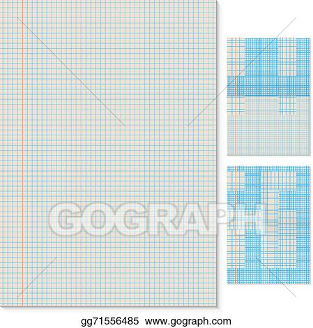 Blank Lined Page Vector Template With Folded Imitation Variants.  Blank Lined Page