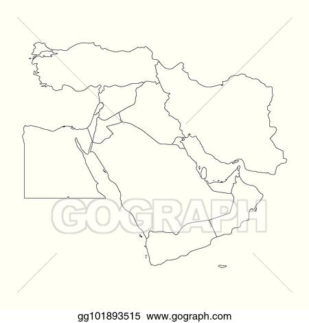 Vector Art - Blank map of middle east, or near east. simple ...