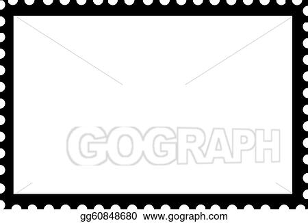 Postage Stamp Clip Art Black And White Drawing - Blank...