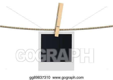 Clipart - Blank photo frame hanging on a rope, 3d rendering. Stock ...
