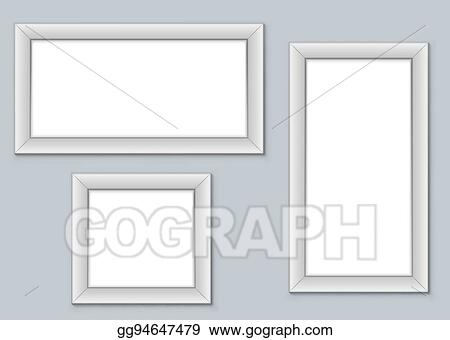 Blank Picture Frames Hanging On The Wall Vector Template