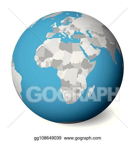 Map Of Africa 3d.Eps Vector Blank Political Map Of Africa 3d Earth Globe With Blue