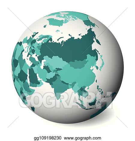 Map Of Asia 3d.Vector Stock Blank Political Map Of Asia 3d Earth Globe With
