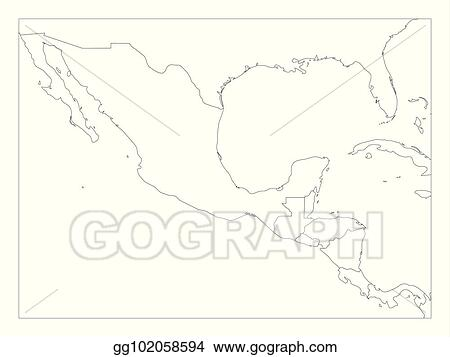 Vector Art - Blank political map of central america and mexico ...