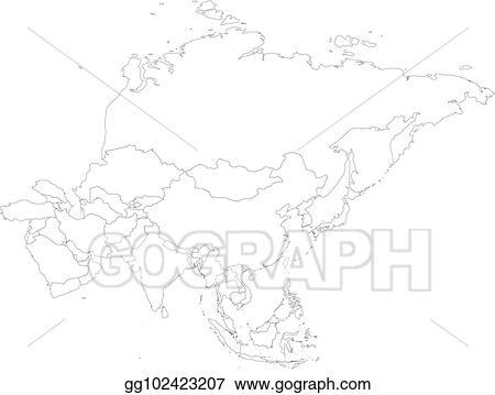 Political Outline Map Of Asia.Clip Art Vector Blank Political Outline Map Of Asia Continent