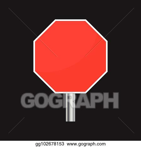Vector Illustration - Blank red stop sign vector icon  empty