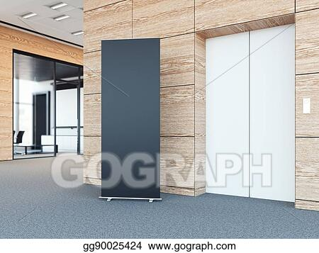 Modern office lobby Front Desk Blank Roll Up Bunner In Modern Office Lobby 3d Rendering Omniwearhapticscom Drawing Blank Roll Up Bunner In Modern Office Lobby 3d Rendering