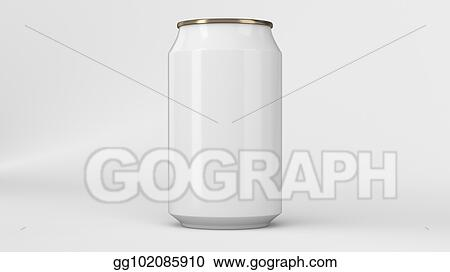 Clipart Blank Small White And Gold Aluminium Soda Can Mockup On