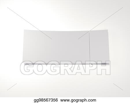 clipart blank tear off ticket 3d rendering stock illustration
