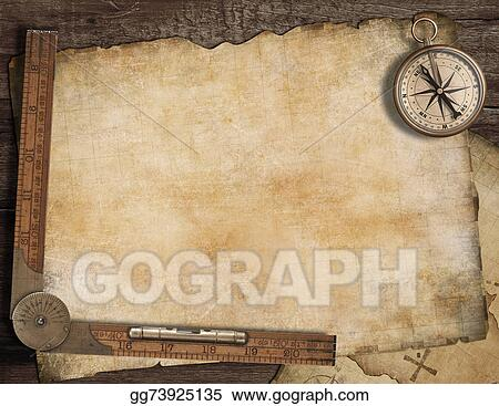 Blank Treasure Map Background With Old Compass And Ruler Adventure Concept