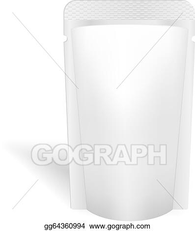 vector art blank white bag packaging for liquids drink or food