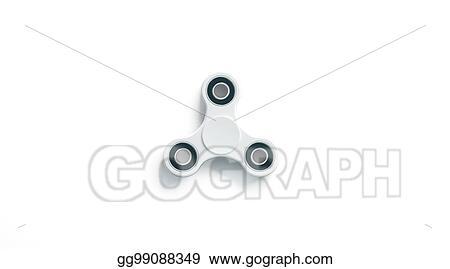 stock illustration blank white fidget spinner mockup top view