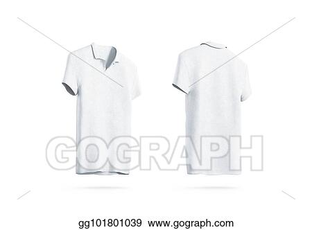 Stock Illustrations Blank White Polo Shirt Mockup Isolated Front
