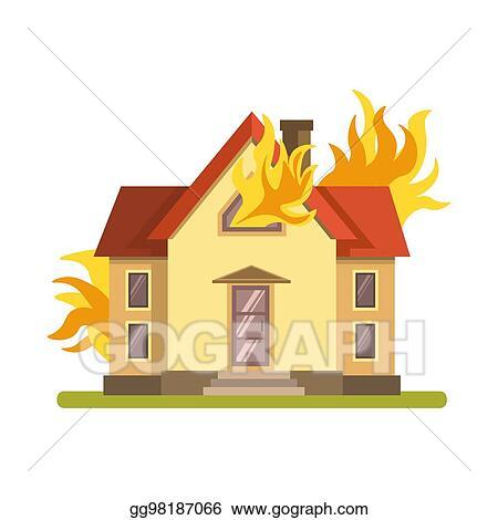Eps Illustration Blazing Double Decker House Burning With Fire On