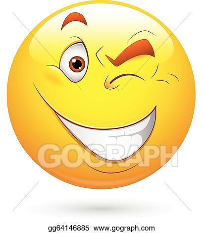 vector clipart blinking eye smiley face vector vector rh gograph com Closed Eyes Clip Art Winking Eye Drawing