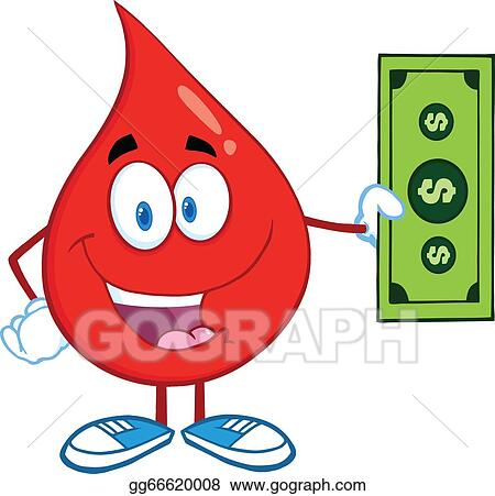 Blood Drop Showing A Dollar Bill
