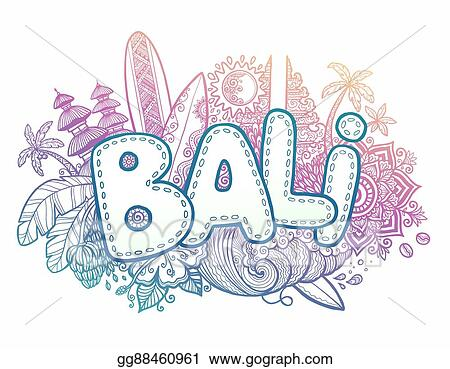 Eps Vector Blue And Pink Colors Vector Bali Sign On Hand Drawn