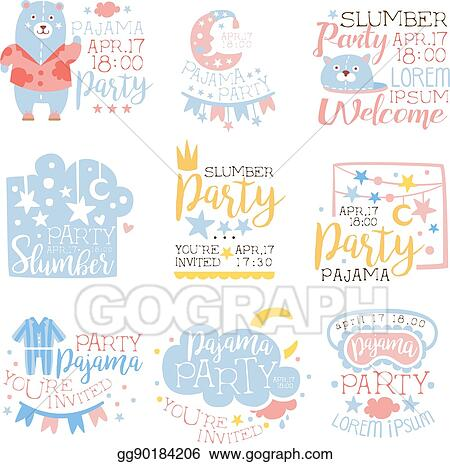 vector illustration blue and pink girly pajama party invitation