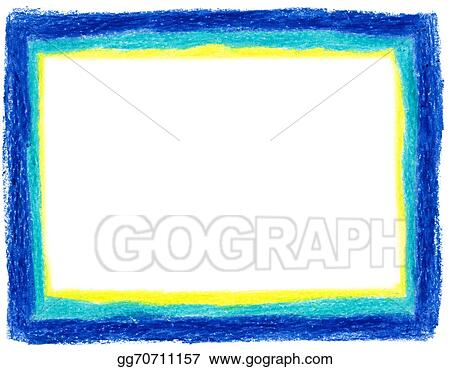 Stock Illustrations Blue And Yellow Crayon Frame Stock Clipart