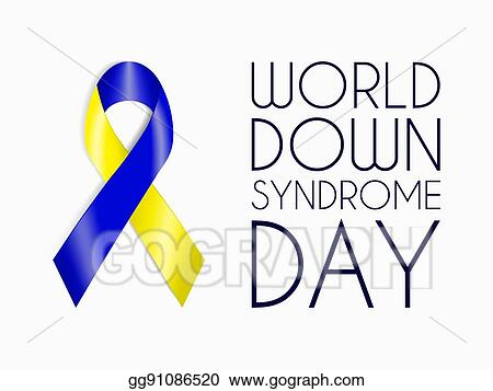 Blue And Yellow Ribbon World Down Syndrome Day Symbol Sign Of Support For People With Mental Disorder Intellectual Disability Charity Concept