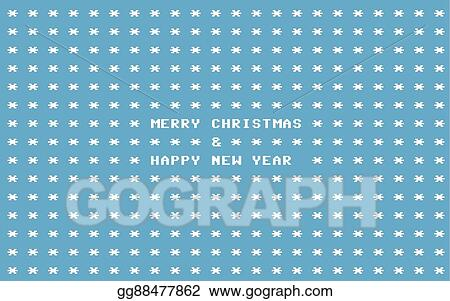 Clip Art Vector - Blue ascii art retro computer christmas card