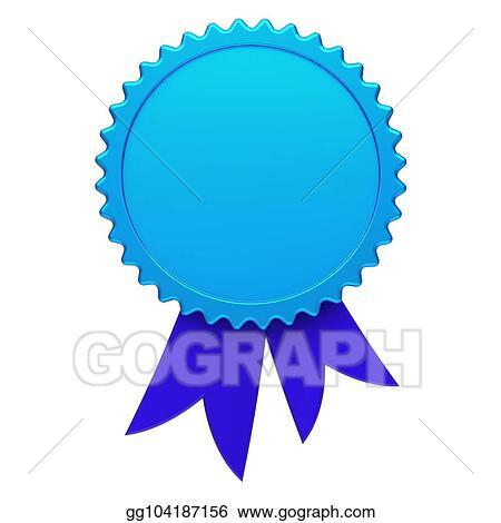 Stock Illustration - Blue award ribbon rosette blank reward