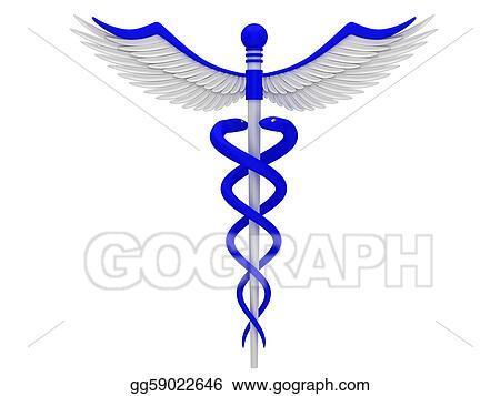 Stock Illustration Blue Caduceus Medical Symbol Clipart