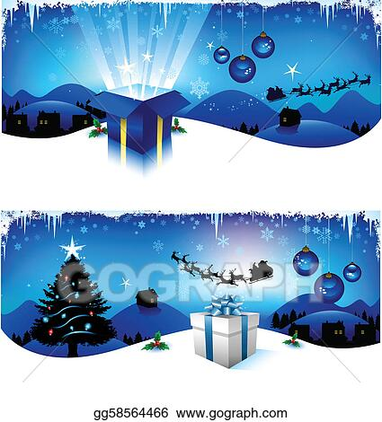 Christmas Header Clipart.Vector Art Blue Christmas Headers Eps Clipart Gg58564466
