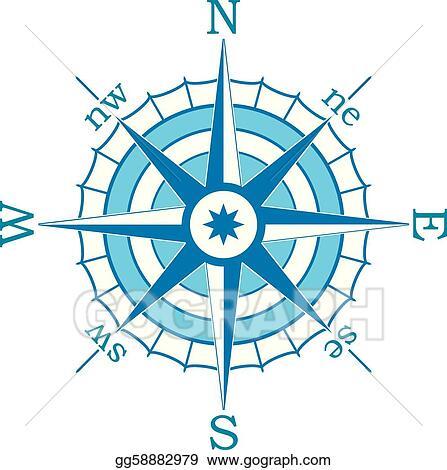 Compass blue. Vector art clipart drawing