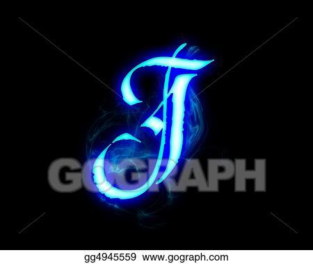 Clipart Blue Flame Magic Font Over Black Background Letter J