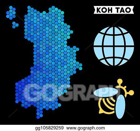 Vector Illustration Blue Hexagon Koh Tao Thai Island Map Eps