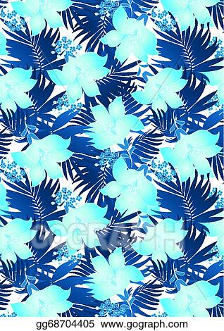 Eps Illustration Blue Hibiscus Flowers In Repeat Pat Vector