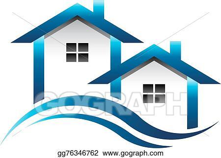 vector illustration blue houses real estate logo eps clipart rh gograph com Realtor Clip Art real estate clipart images free