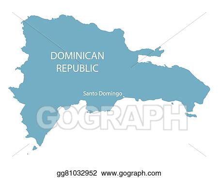 EPS Vector Blue map od dominican republic with indication of santo