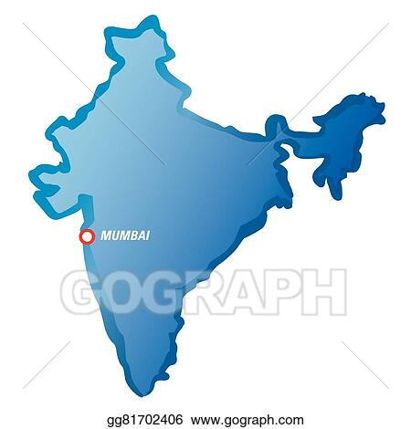 Vector Illustration Blue Map Of India And Mumbai Stock Clip Art