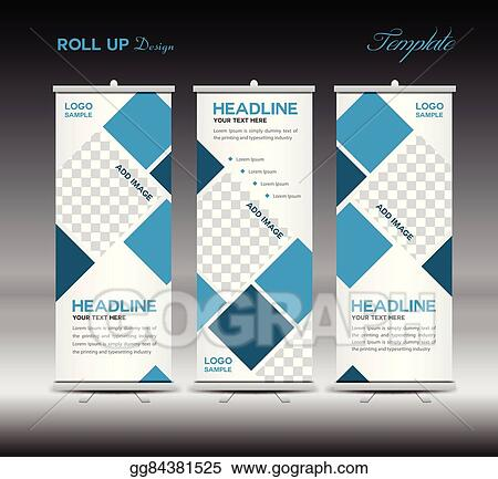 vector illustration blue roll up banner template vector