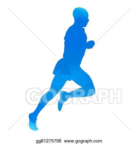 eps illustration blue runner vector silhouette vector clipart rh gograph com runner vector art runner vector silhouette
