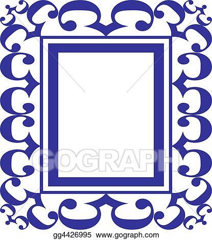 Stock Illustration - Blue scroll frame . Clipart Illustrations ...